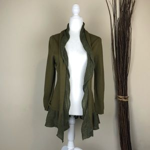 ANTHRO CANARY   Olive Green Wool Blend Cardigan M